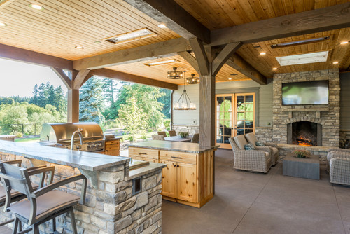 Rustic Outdoor Kitchen and Outdoor Fireplace in Portland OR