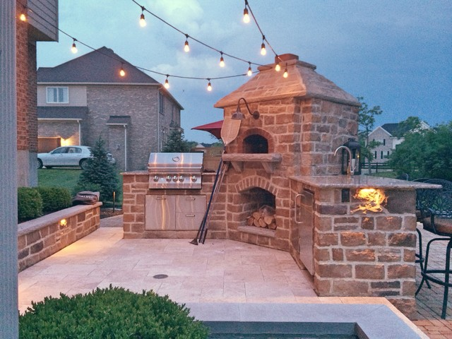 Tuscan Inspired Outdoor Pizza Oven And Kitchen In Mason Oh