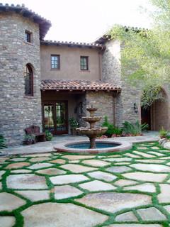 Tuscan Stone Flagstone Motorcourt Mediterranean