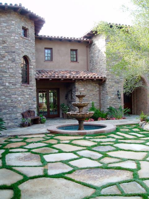 Charming Tuscan, Stone, Flagstone Motorcourt Mediterranean Patio