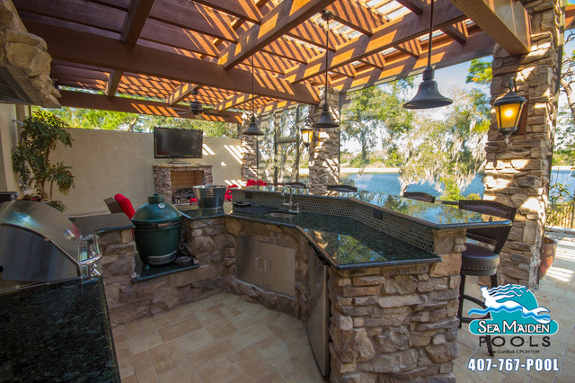 Tuscan Style Outdoor Living Space   Pergola Mediterranean Patio