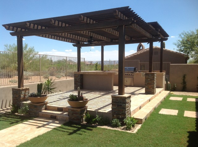 Two Level Wood Pergola