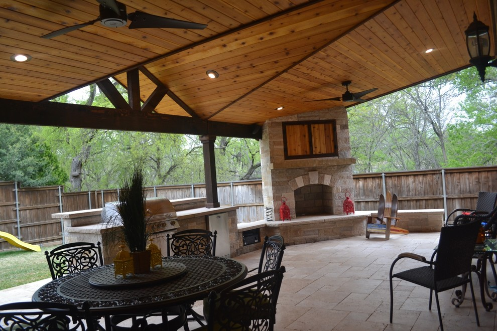 Two Toned Mini Gable Patio Cover With Full Kitchen And Fireplace Transitional Patio Dallas By Party On The Patio