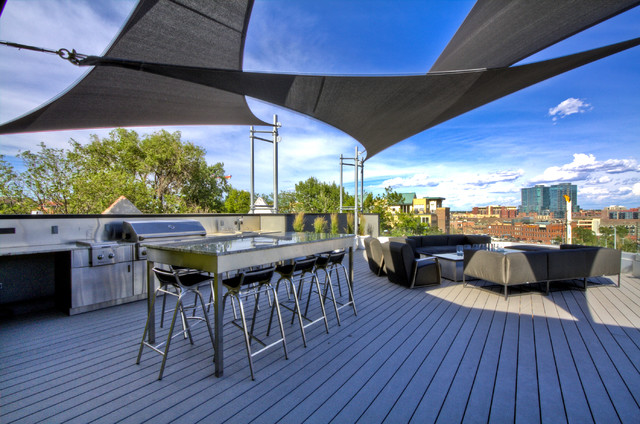 Contemporary Patio Kitchen Idea In Denver With Decking