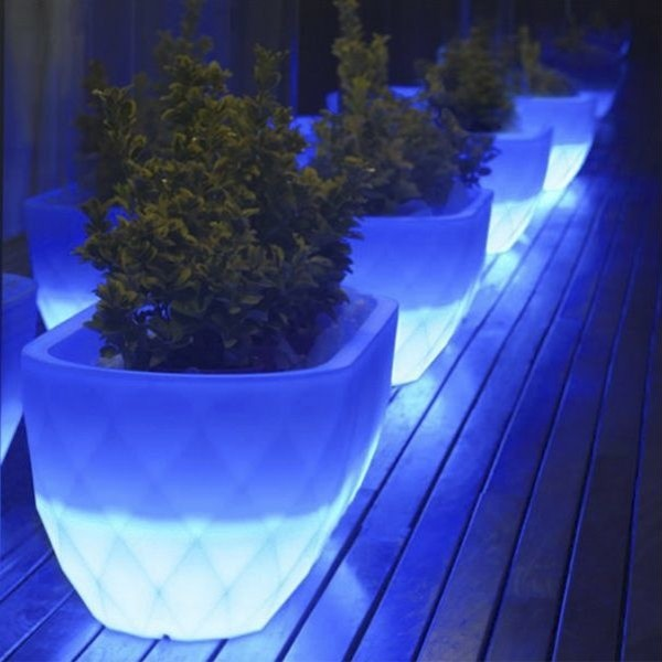 Vases Illuminated Outdoor Planter Contemporary Outdoor