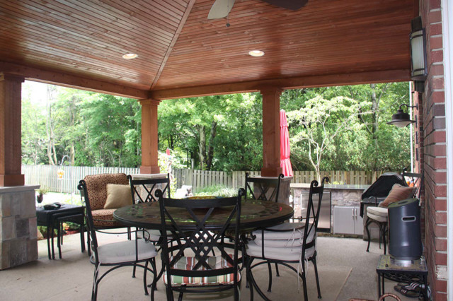 Charming Vaulted Ceiling Patio Ideas Rustic Patio