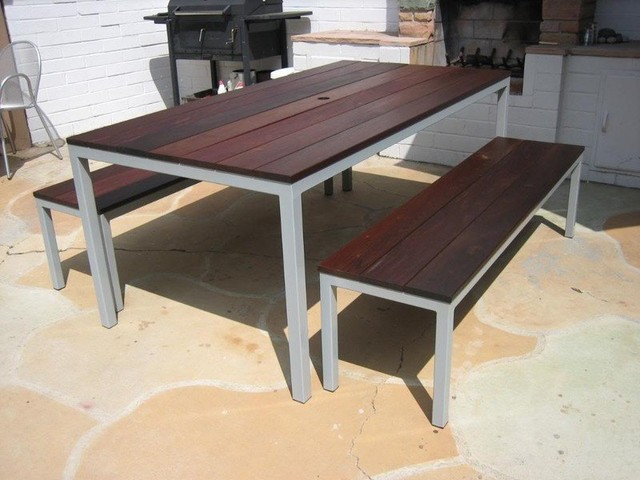 Venice Beach Outdoor Table With Powder Coated Gray And Ipe Top. Two  Benches. Tab