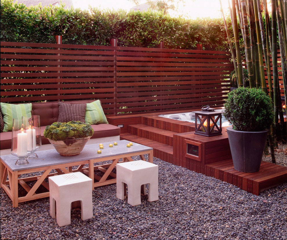 Example of a mid-sized trendy backyard gravel patio design in Los Angeles with no cover