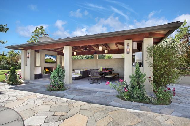 Backyard garden layout - Villa Park Home Contemporary Patio Orange County