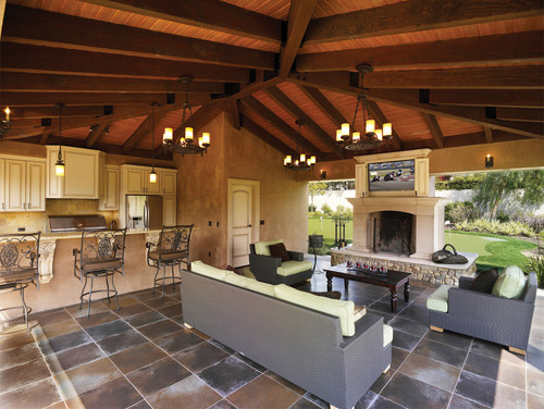 ... In A Living Room As Outside Under A Barbecue Area? The Fireplace  Flanked By Open Views On Either Side Will Provide Warmth To Guests  Snuggling Around It, ...
