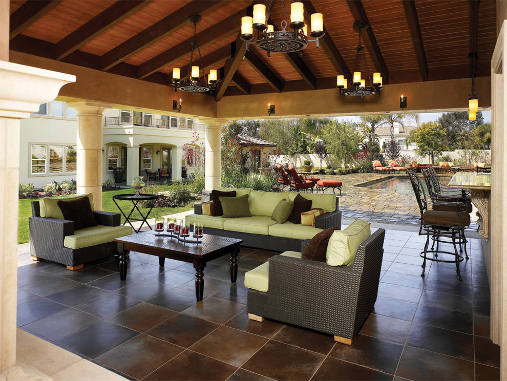 Tuscan patio photo in Los Angeles with a gazebo