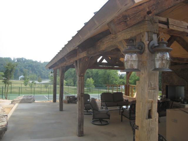 Vintage Barn beam pavilion - Mediterranean - nashville - by Appalachian Log and Timber Homes