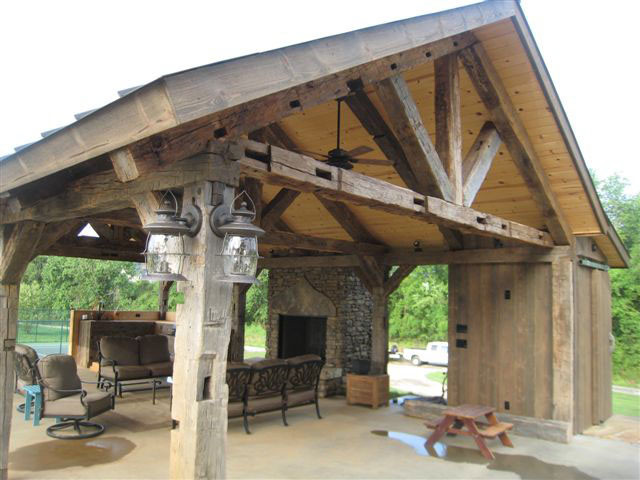 Vintage Barn Beam Pavilion Rustic Patio Nashville on Stools Made From Logs