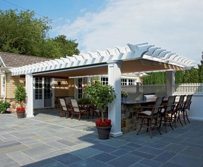 Vinyl Pergola Outdoor Kitchen - modern - gazebos - other metro ...