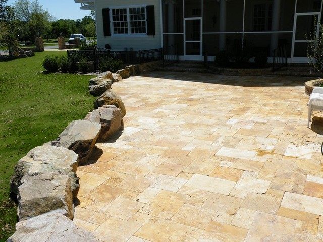 Waller Gold French Pattern Deck traditional patio
