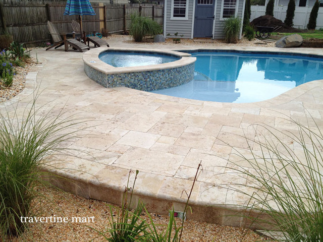 Walnut Travertine Pavers Traditional Patio Atlanta