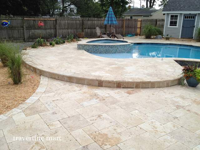 Walnut Travertine Pavers Traditional Patio