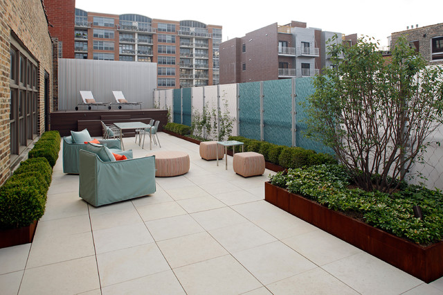 Warehouse Roof Terrace Contemporary Patio Chicago