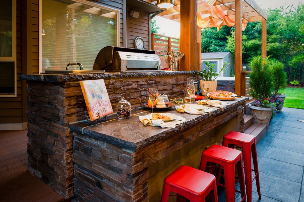 Patio kitchen - contemporary patio kitchen idea in Portland