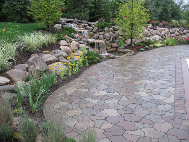 Water fall and pond flagstone paver contemporary Flagstone pavers around pool
