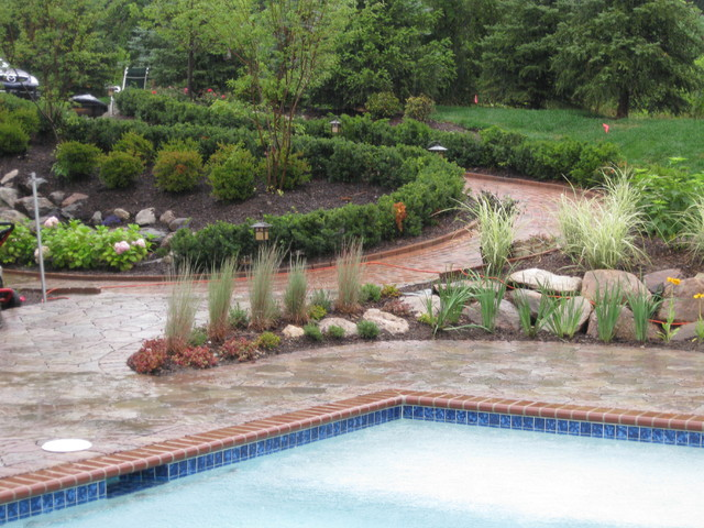 water fall and pond, flagstone paver contemporary-patio