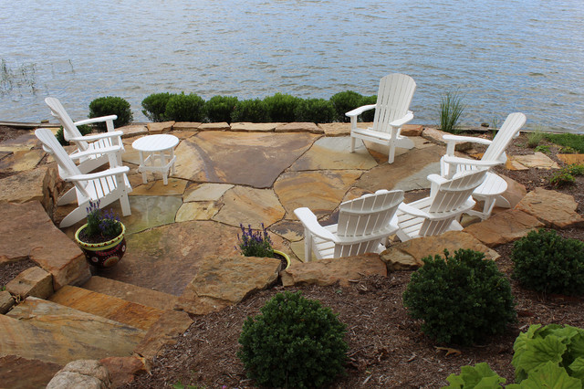 Example of a coastal backyard patio design in DC Metro with no cover
