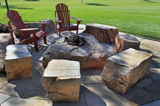 Waterfall Fire Pit Rustic Patio Denver By Alpine