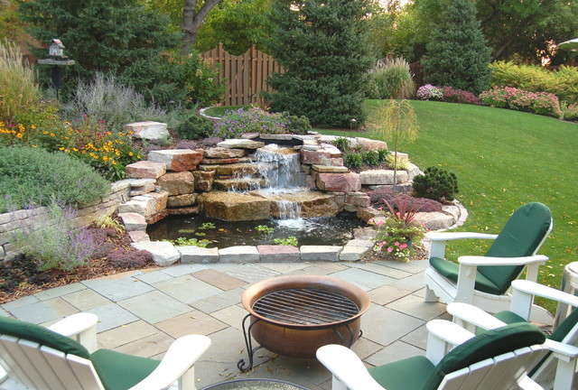 Waterfalls ponds traditional patio minneapolis for Square pond ideas