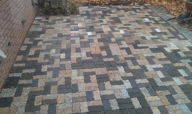 Wavy Rectangle Granite Pavers Traditional Patio Detroit By - Granite patio pavers