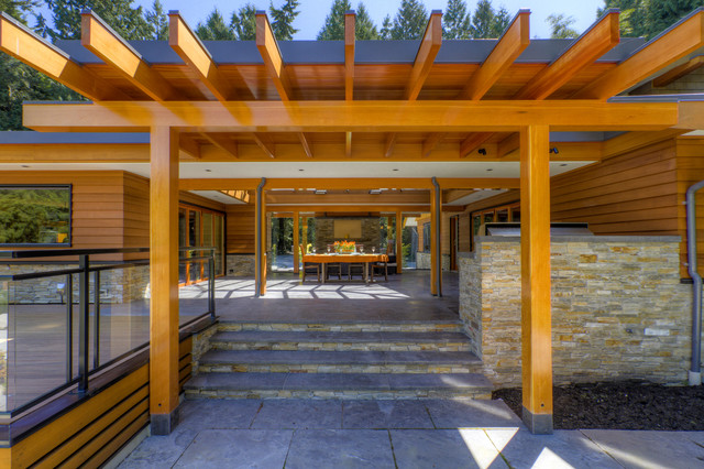 West Coast Post And Beam Rancher Contemporary Patio