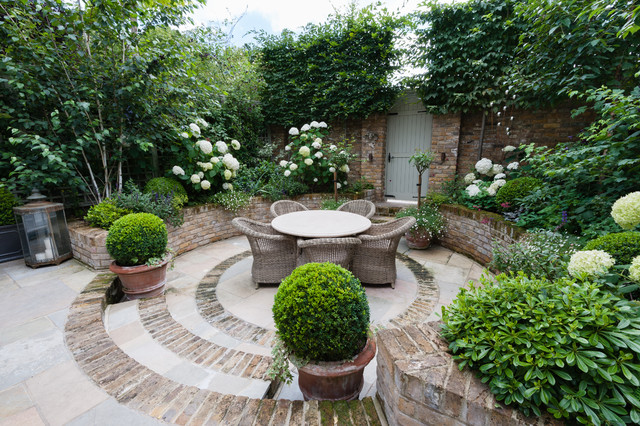 Small Traditional Courtyard Brick Patio Idea In London