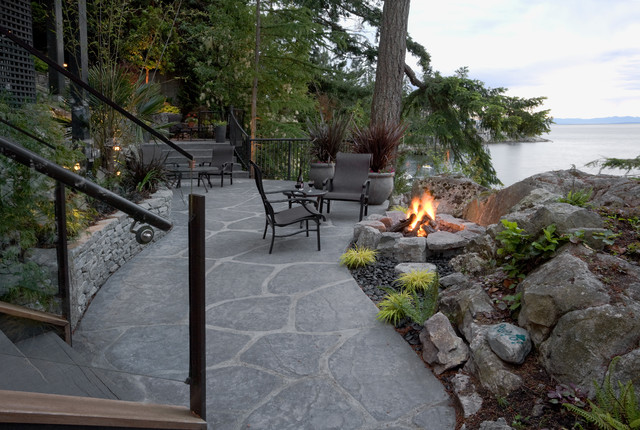 West vancouver waterfront design transitional patio for Waterfront landscape design