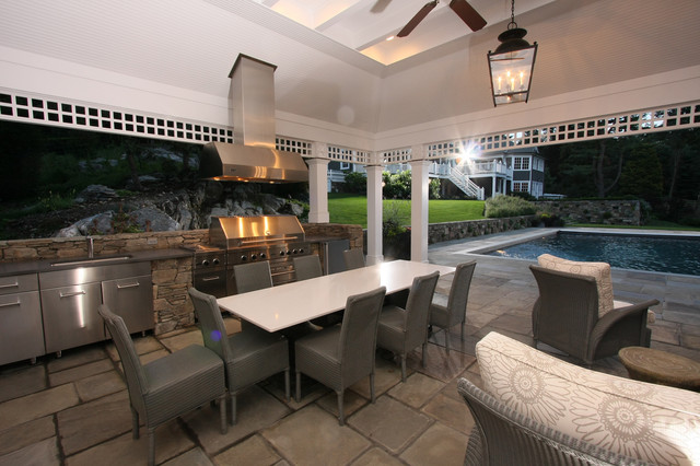 Westchester Poolhouse traditional-patio