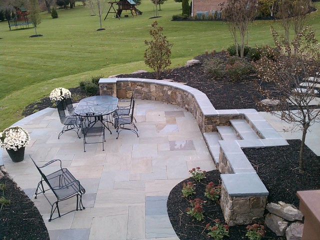 Western Maryland Wall Stone Retaining Wall With Flagstone
