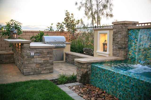 Inspiration For A Large Backyard Concrete Paver Patio Kitchen Remodel In  San Diego