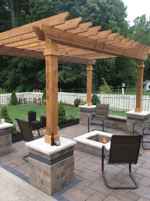 Patio - mid-sized traditional backyard concrete paver patio idea in  Columbus with a fire - Westerville Patio, Pergola Fire-pit - Traditional - Patio - Columbus