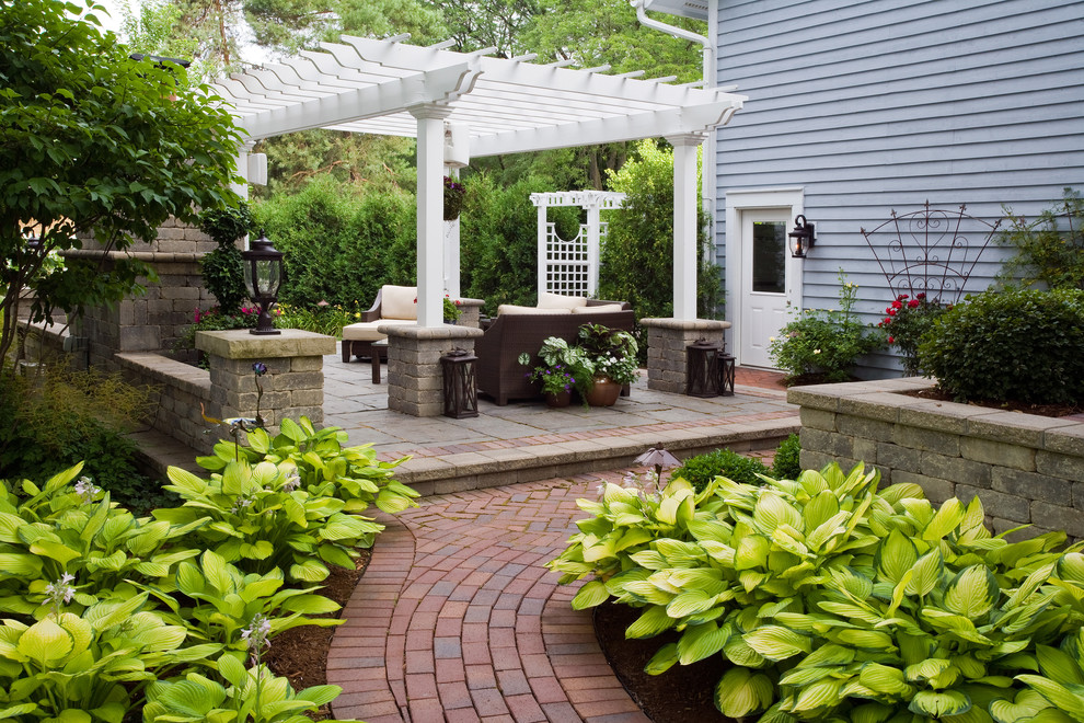 Patio - traditional patio idea in Chicago with a gazebo