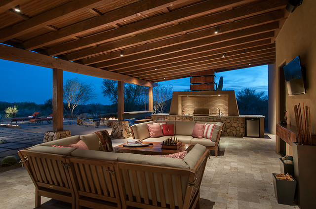 Large Southwest Backyard Stone Patio Kitchen Photo In Phoenix With A Roof Extension