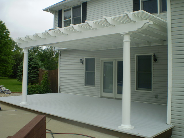 White Vinyl Pergola Traditional Patio Indianapolis