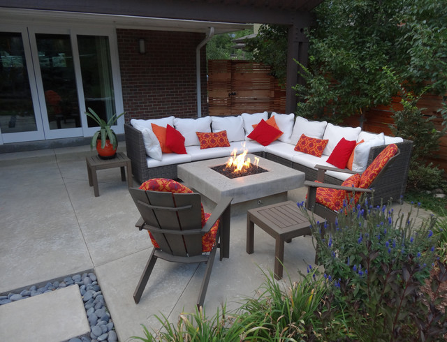 wicker patio furniture around custom fire pit