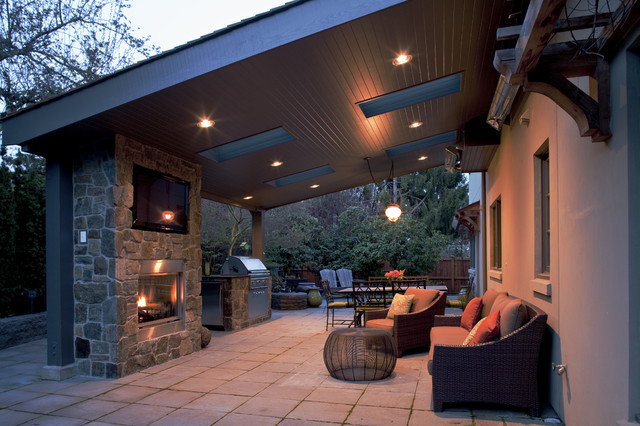 Windermere outdoor room traditional patio seattle for Outdoor room with fireplace
