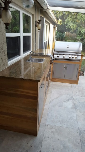 Wood Look Tile Outdoor Bbq Kitchenmodern Patio Miami