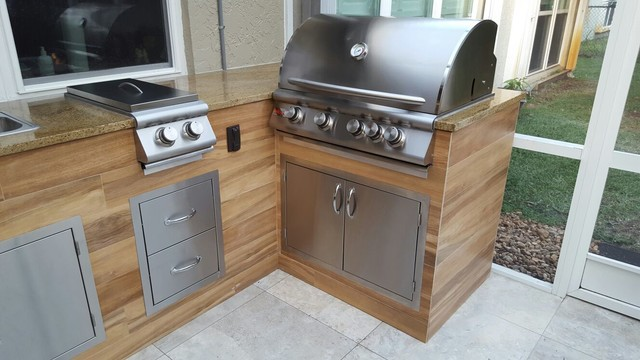 Kitchen cabinets all ideas - Wood Look Tile Outdoor Bbq Kitchen Modern Patio