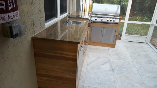 Wood-Look Tile Outdoor BBQ Kitchen - Modern - Patio - Miami ...