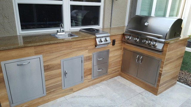 Wood Look Tile Outdoor BBQ KitchenModern Patio, Miami