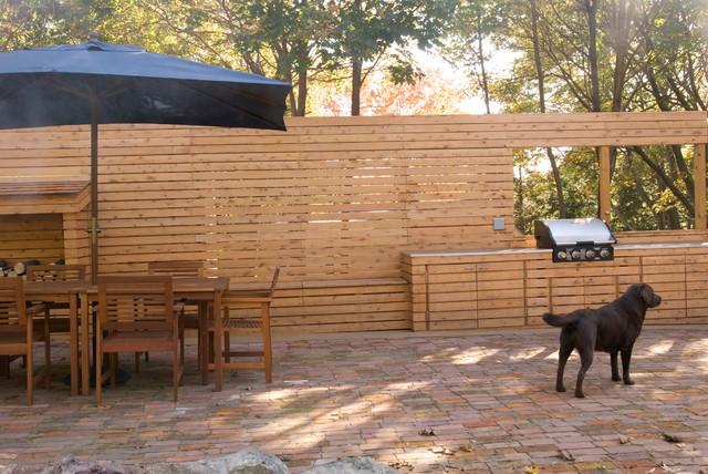 wood slat wall panel outdoor kitchen contemporary patio ideas design