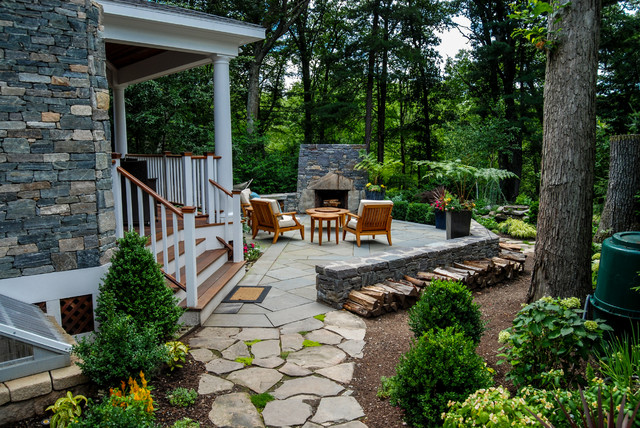 woodland retreat rustic patio boston by a blade of grass
