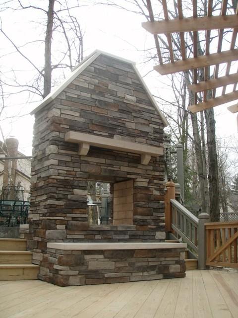 Worthington Outdoor Fireplace eclectic-patio