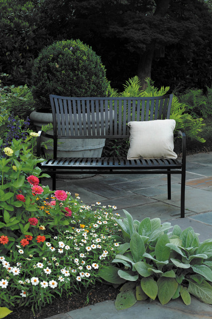 Wrought aluminum outdoor bench traditional-patio
