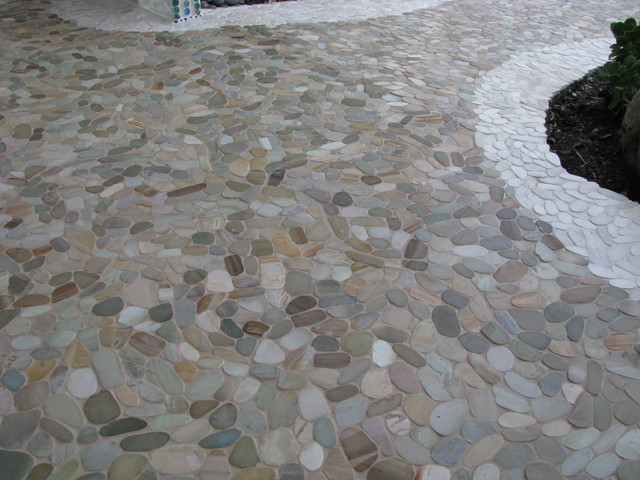 Stone Tiles For Backyard : Zen Paradise Wave Style Stone Tiles  Tropical  Patio  santa barbara